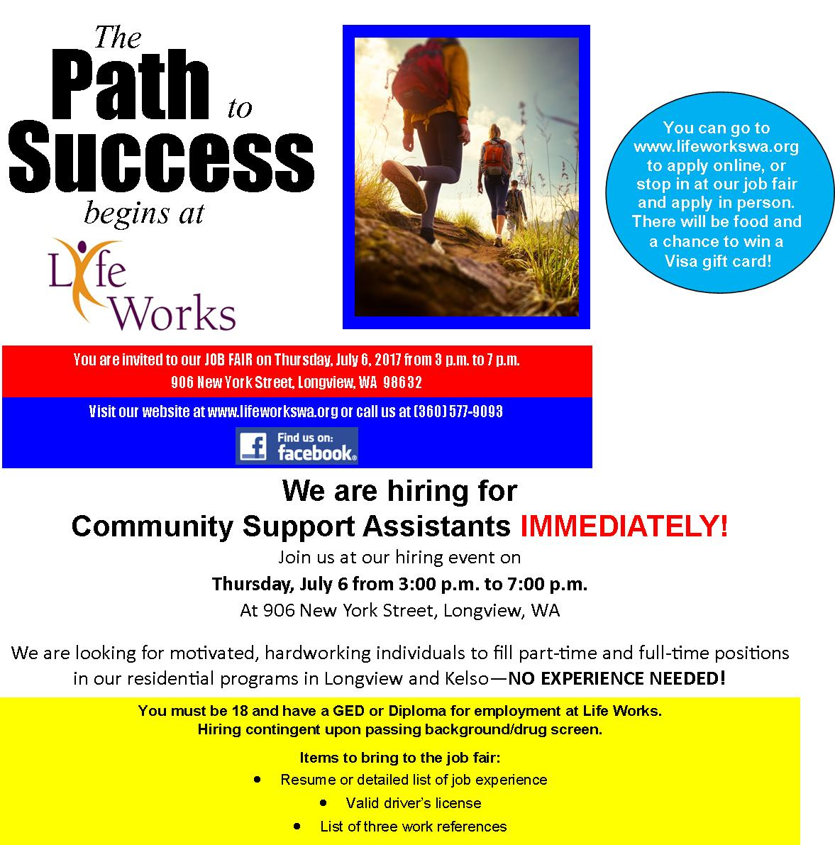 Life works hiring event path to success kelso longview chamber thursday july 6 2017 300pm negle Gallery