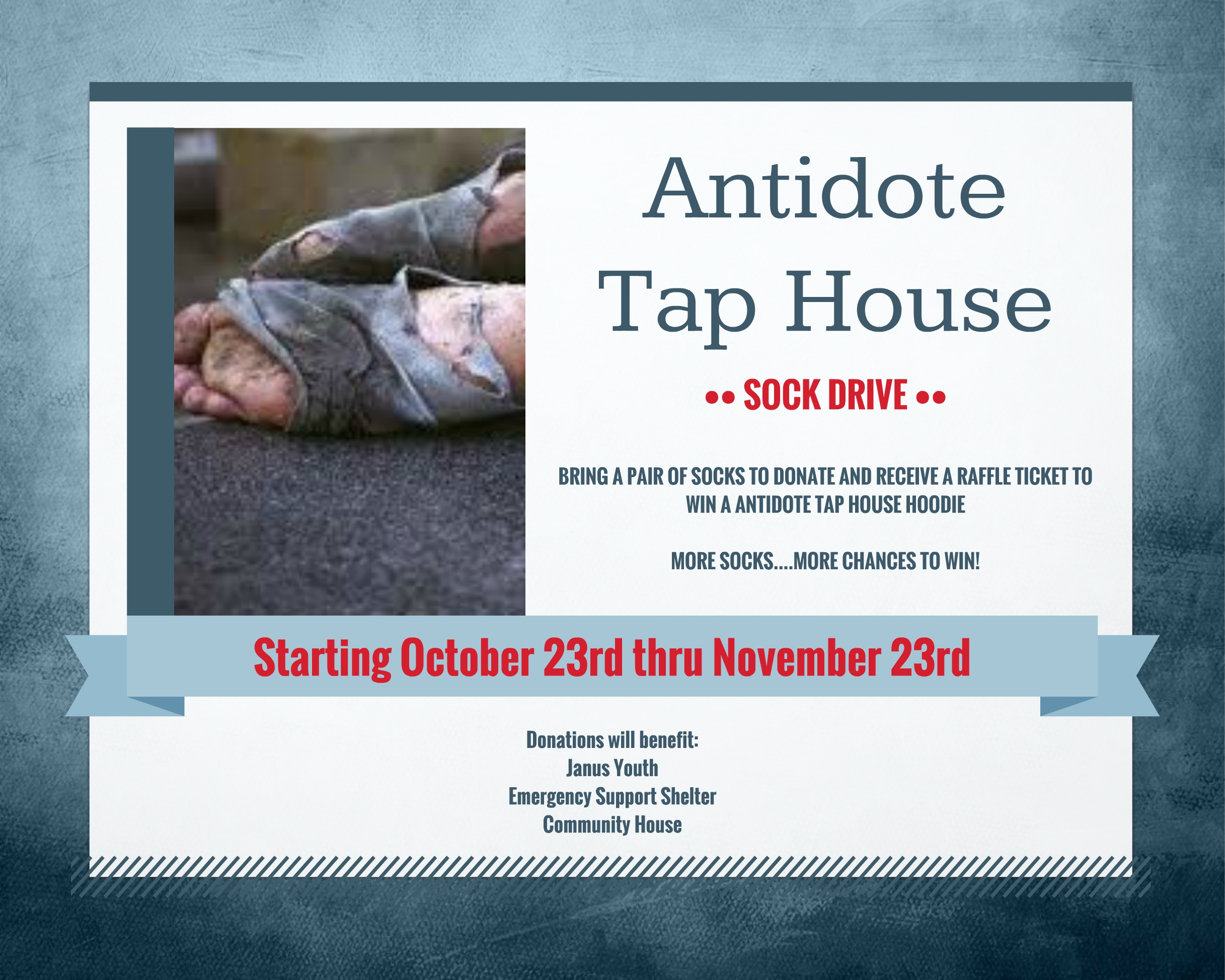 Antidote Tap House Sock Drive